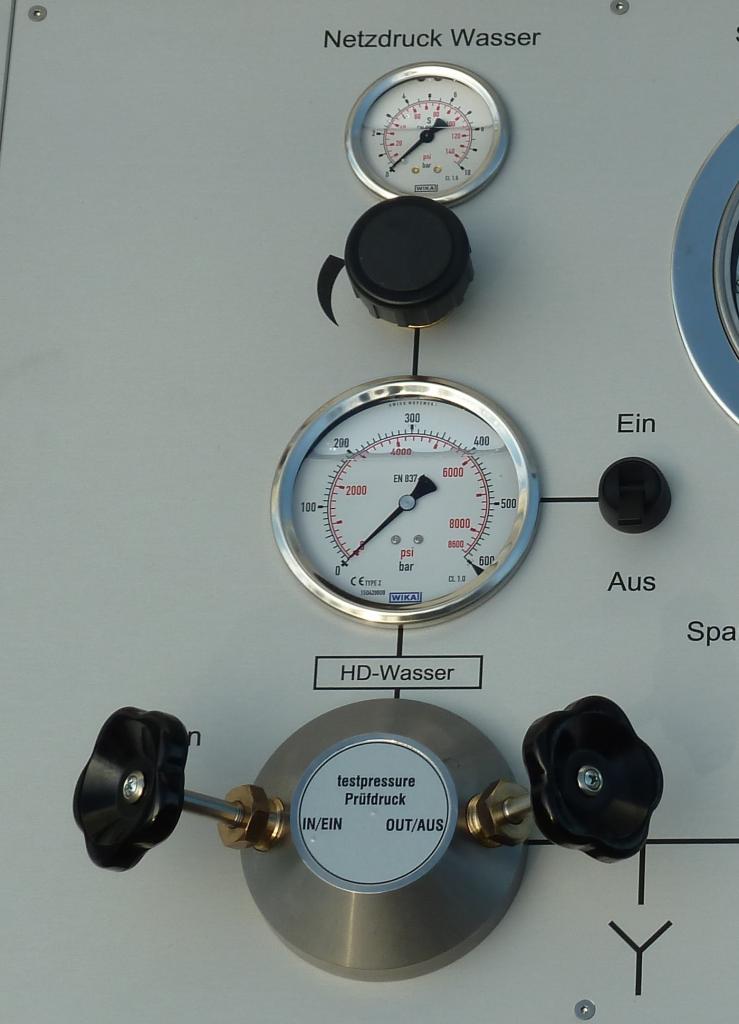 Hochdruck Wasserprüfung
